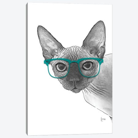 Sphynxcat With Glasses Canvas Print #LIP181} by Printable Lisa's Pets Canvas Print