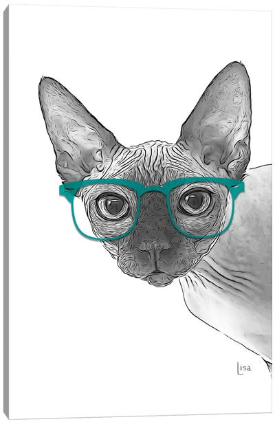 Sphynxcat With Glasses Canvas Art Print