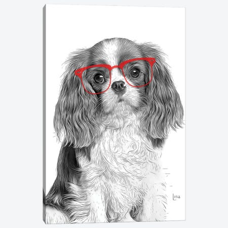 Cavalierking With Red Glasses Canvas Print #LIP183} by Printable Lisa's Pets Canvas Art Print