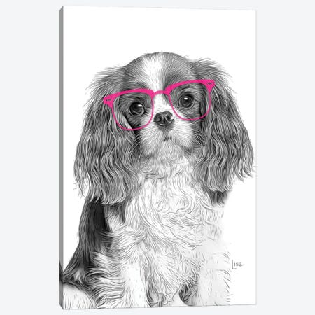 Cavalierking With Pink Glasses Canvas Print #LIP184} by Printable Lisa's Pets Canvas Artwork