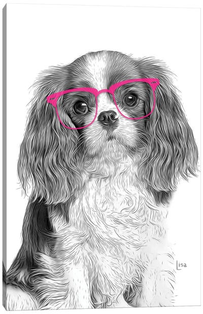 Cavalierking With Pink Glasses Canvas Art Print