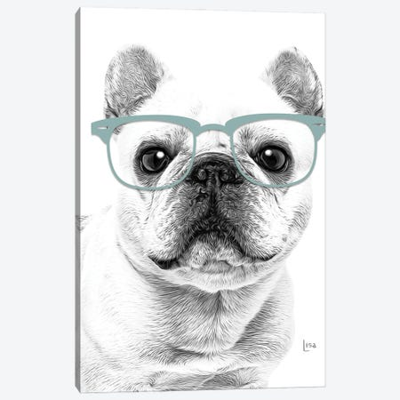 French Bulldog With Glasses Canvas Print #LIP185} by Printable Lisa's Pets Canvas Artwork