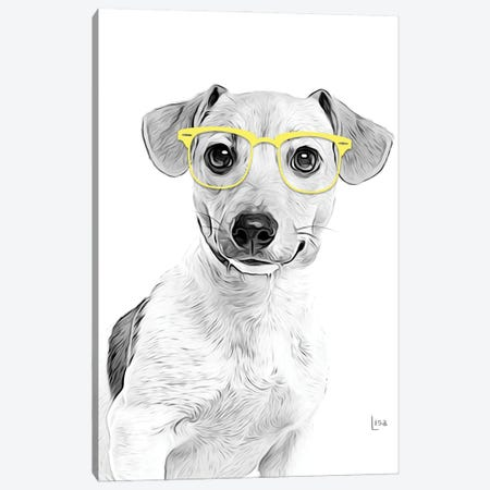 Jack Russell Terrier With Yellow Glasses Canvas Print #LIP187} by Printable Lisa's Pets Canvas Artwork