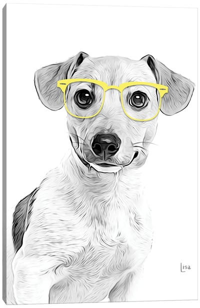 Jack Russell Terrier With Yellow Glasses Canvas Art Print