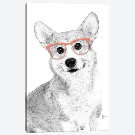 Corgy With Orange Glasses Canvas Print #LIP188} by Printable Lisa's Pets Canvas Art Print