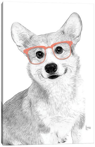 Corgy With Orange Glasses Canvas Art Print