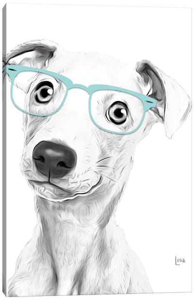 Greyhound With Glasses Canvas Art Print