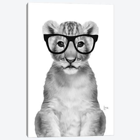 Lion With Black Glasses Canvas Print #LIP18} by Printable Lisa's Pets Art Print