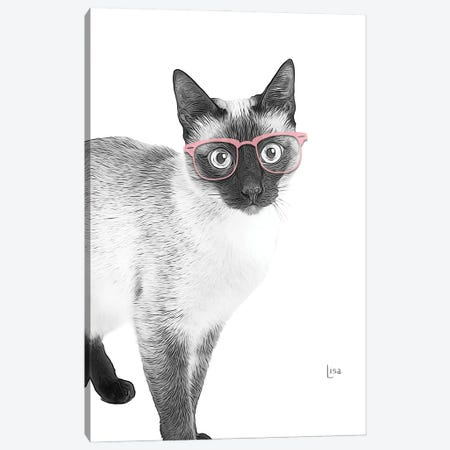 Siamese With Pink Glasses Canvas Print #LIP190} by Printable Lisa's Pets Canvas Wall Art