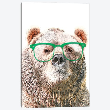 Color Bear With Green Glasses Canvas Print #LIP191} by Printable Lisa's Pets Canvas Art