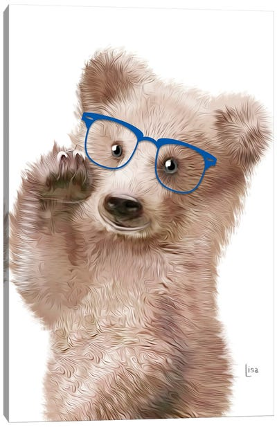 Baby Bear With Blue Glasses Canvas Art Print