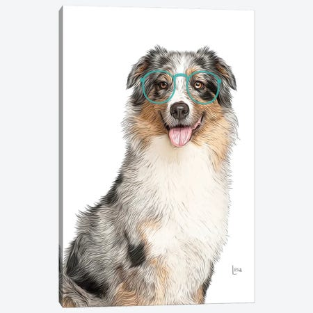 Australian Shepherd With Glasses Canvas Print #LIP193} by Printable Lisa's Pets Canvas Art
