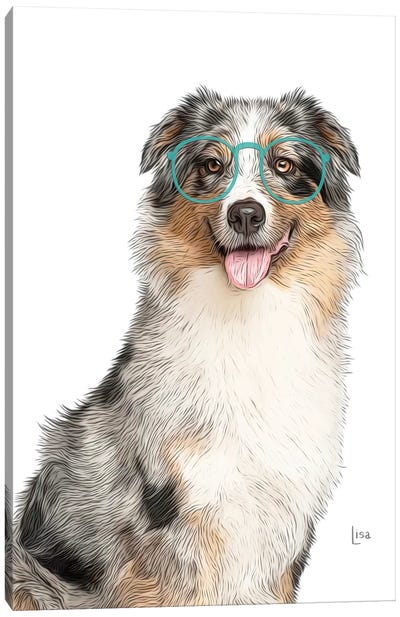Australian Shepherd With Glasses Canvas Art Print