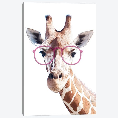 Giraffe With Pink Glasses Canvas Print #LIP194} by Printable Lisa's Pets Art Print
