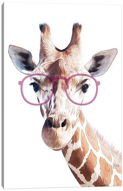 Giraffe With Pink Glasses Canvas Art Print