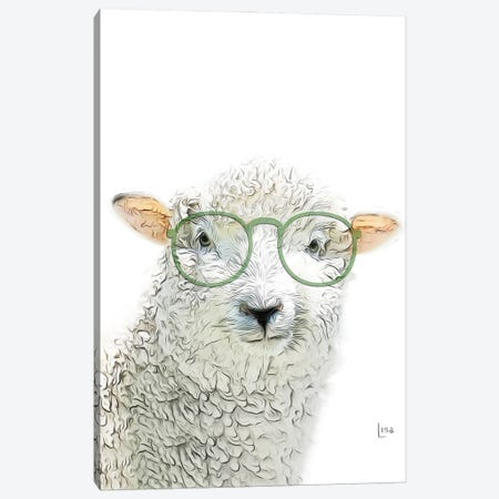 Color Sheep With Green Glasses Canvas Print #LIP199} by Printable Lisa's Pets Canvas Art