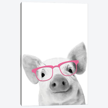 Pig With Pink Glasses Canvas Print #LIP19} by Printable Lisa's Pets Canvas Print