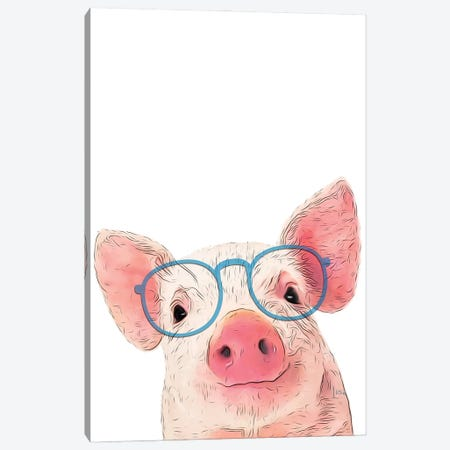 Color Pig With Blue Glasses Canvas Print #LIP200} by Printable Lisa's Pets Canvas Artwork