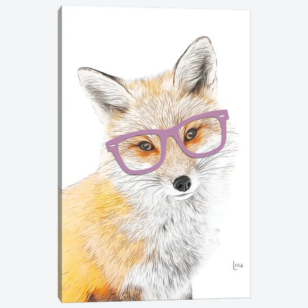 Color Fox With Purple Glasses Canvas Print #LIP201} by Printable Lisa's Pets Canvas Wall Art