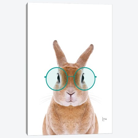 Color Bunny With Glasses Canvas Print #LIP202} by Printable Lisa's Pets Canvas Wall Art