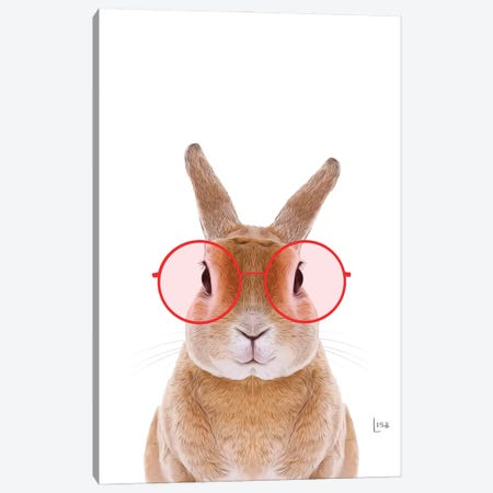 Color Bunny With Red Glasses Canvas Print #LIP203} by Printable Lisa's Pets Canvas Art
