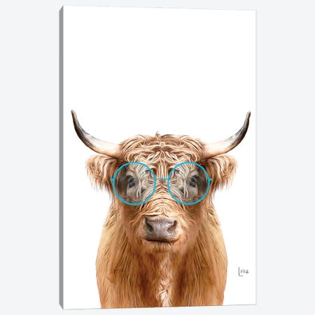 Color Cow With Blue Glasses Canvas Print #LIP205} by Printable Lisa's Pets Canvas Art Print
