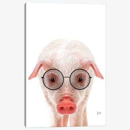 Color Pig With Black Glasses Canvas Print #LIP207} by Printable Lisa's Pets Art Print