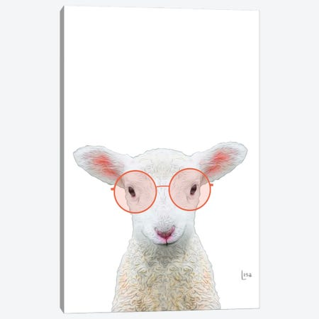 Color Sheep With Pink Glasses Canvas Print #LIP208} by Printable Lisa's Pets Canvas Art