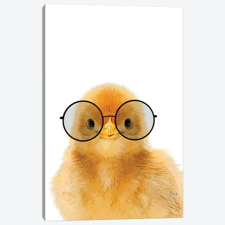 Chick With Glasses Canvas Print #LIP212} by Printable Lisa's Pets Canvas Art Print