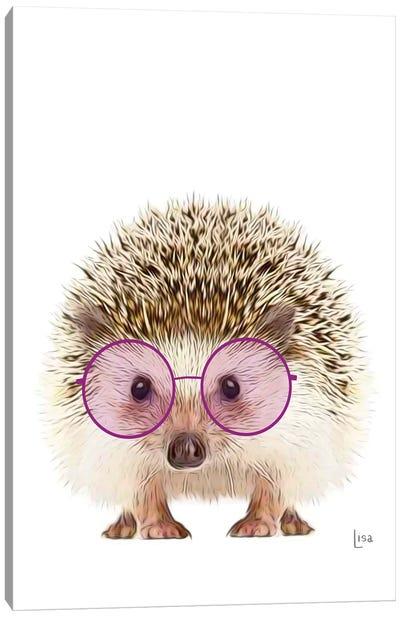 Color Hedgehog With Purple Glasses Canvas Art Print