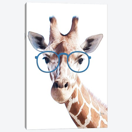 Color Giraffe With Blue Glasses Canvas Print #LIP216} by Printable Lisa's Pets Canvas Art