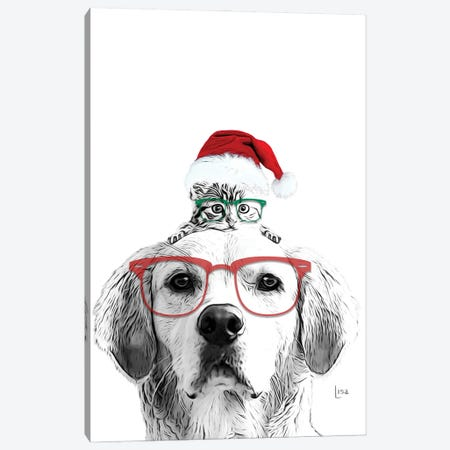 Christmas Cat And Dog With Glasses And Hat Canvas Print #LIP222} by Printable Lisa's Pets Canvas Artwork