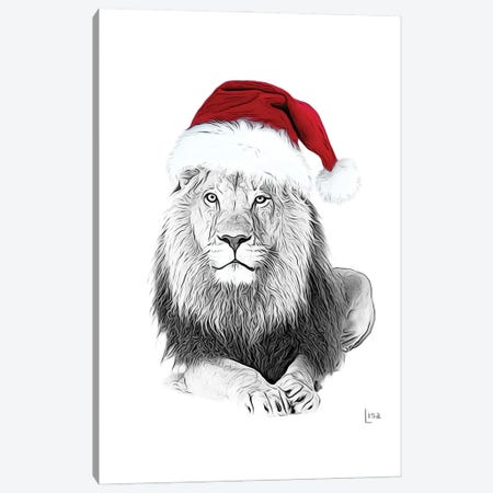 Christmas Lion With Glasses And Hat Canvas Print #LIP223} by Printable Lisa's Pets Canvas Artwork