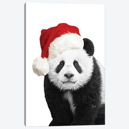 Christmas Panda With Hat Canvas Print #LIP228} by Printable Lisa's Pets Canvas Artwork
