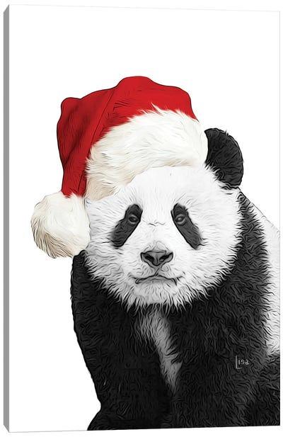 Christmas Panda With Hat Canvas Art Print