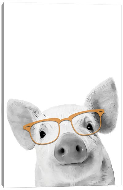 Pig With Glasses Canvas Art Print