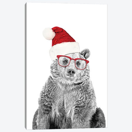 Christmas Bear With Glasses And Hat Canvas Print #LIP231} by Printable Lisa's Pets Canvas Art Print