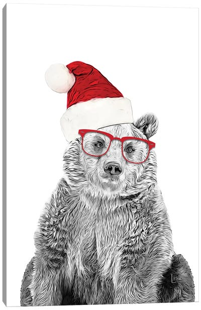 Christmas Bear With Glasses And Hat Canvas Art Print