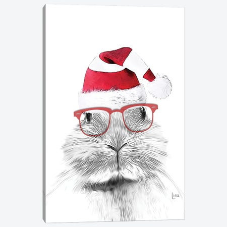 Christmas Bunny Canvas Print #LIP233} by Printable Lisa's Pets Canvas Art Print