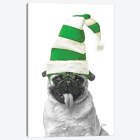 Green Christmas Pug Canvas Print #LIP235} by Printable Lisa's Pets Canvas Art