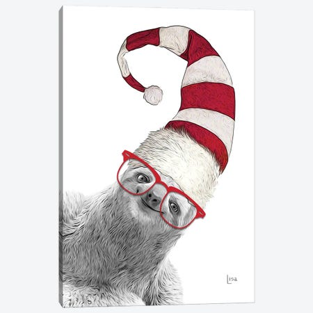 Christmas Sloth With Glasses And Hat Canvas Print #LIP236} by Printable Lisa's Pets Canvas Art