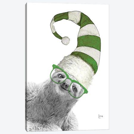 Green Christmas Sloth Canvas Print #LIP237} by Printable Lisa's Pets Canvas Art