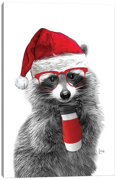 Christmas Raccoon Canvas Art Print