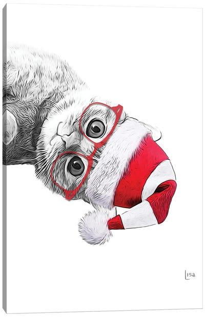 Red Christmas Cat Canvas Art Print