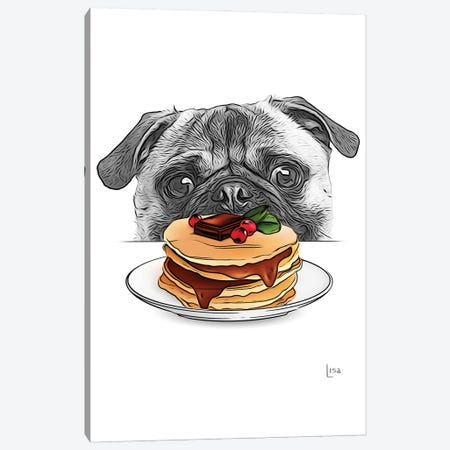Pug With Pancakes Canvas Print #LIP245} by Printable Lisa's Pets Canvas Print
