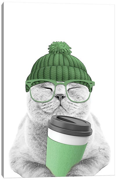 Cat With Green Coffee Cup Canvas Art Print