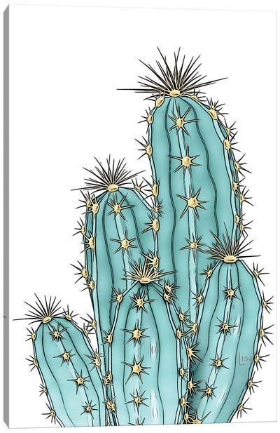 Blue Cacti Color Canvas Art Print