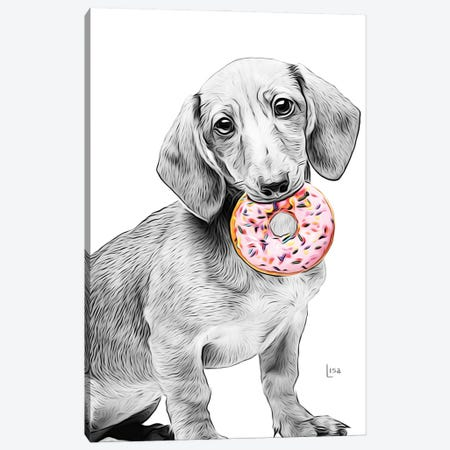 Dachshund With Donut Canvas Print #LIP249} by Printable Lisa's Pets Canvas Wall Art