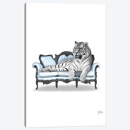Tiger On The Sofa Canvas Print #LIP251} by Printable Lisa's Pets Canvas Art Print