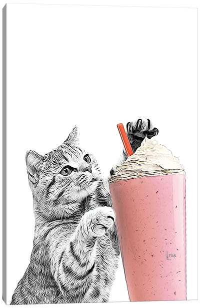 Cat With Smoothie Canvas Art Print
